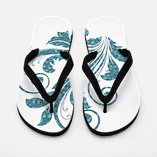 Blue Artistic Floral Flip Flops