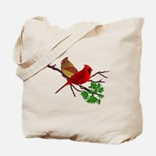 Cardinal Couple on a Branch Tote Bag