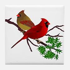 Cardinal Couple on a Branch Tile Coaster