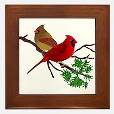 Cardinal Couple on a Branch Framed Tile