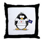 North Dakota Penguin Throw Pillow