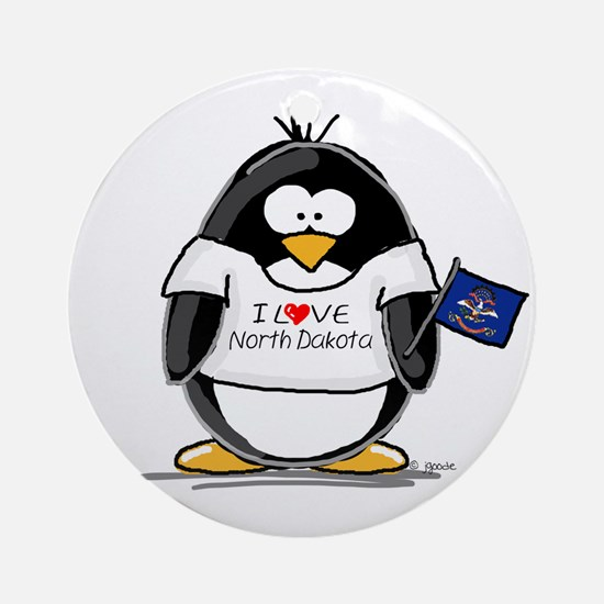 North Dakota Penguin Ornament (Round)