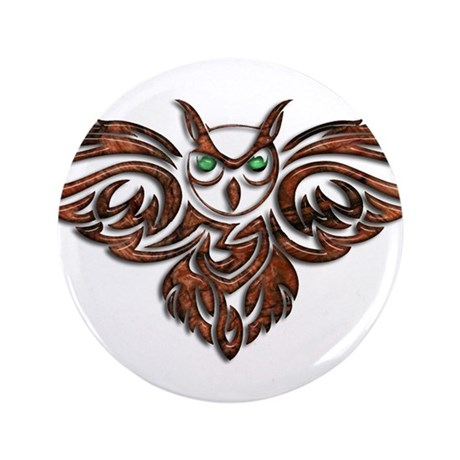 """Carved Wood Horned Owl 3.5"""" Button"""