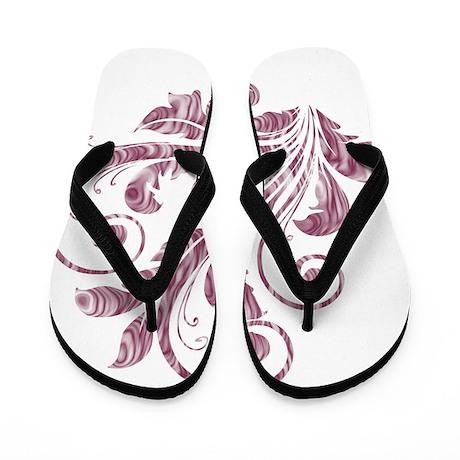 Mauve Artistic Floral Flip Flops