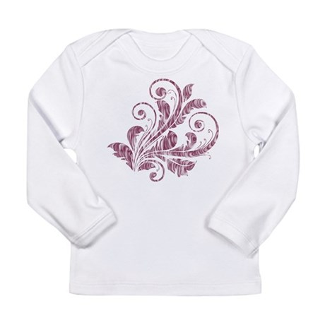 Mauve Artistic Floral Long Sleeve Infant T-Shirt