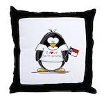 North Carolina Penguin Throw Pillow