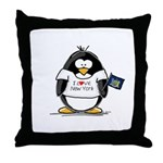 New York Penguin Throw Pillow