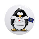New Hampshire Penguin Ornament (Round)