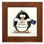 Michigan Penguin Framed Tile