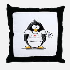 Massachusetts Penguin Throw Pillow
