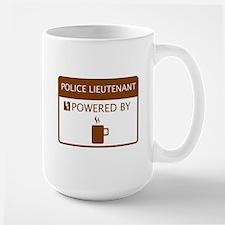 Police Lieutenant Powered by Coffee Large Mug