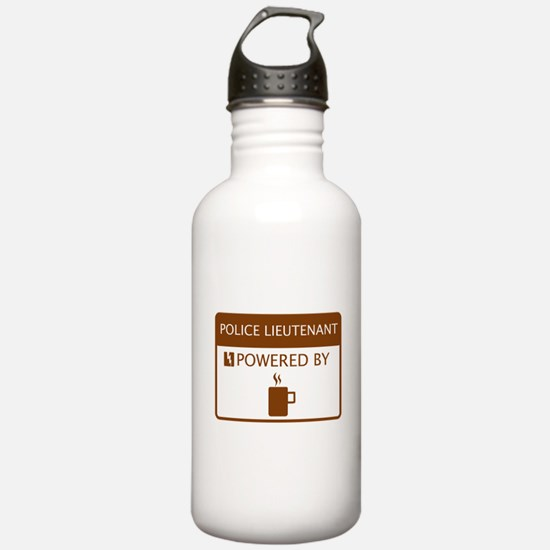 Police Lieutenant Powered by Coffee Sports Water Bottle