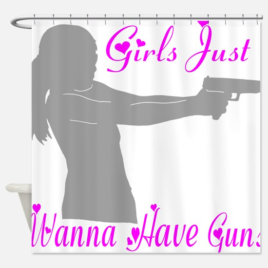 GIRLS AND GUNS Shower Curtain
