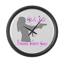 GIRLS AND GUNS Large Wall Clock