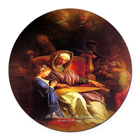 Saint Anne, Education of Mary Round Car Magnet