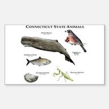 Connecticut State Animals Sticker (Rectangle)