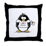 Illinois Penguin Throw Pillow