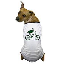 Dark Green Flamingo on Bicycle Dog T-Shirt