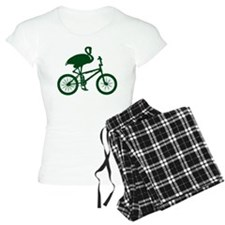 Dark Green Flamingo on Bicycle Pajamas
