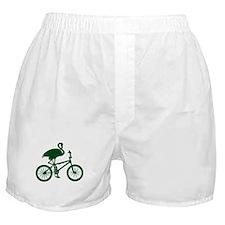 Dark Green Flamingo on Bicycle Boxer Shorts