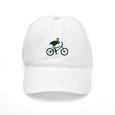 Dark Green Flamingo on Bicycle Baseball Cap