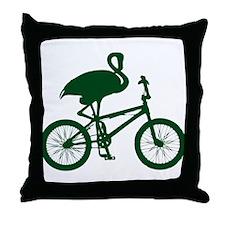 Dark Green Flamingo on Bicycle Throw Pillow
