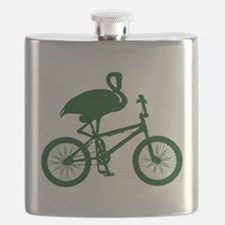 Dark Green Flamingo on Bicycle Flask