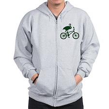 Dark Green Flamingo on Bicycle Zip Hoodie