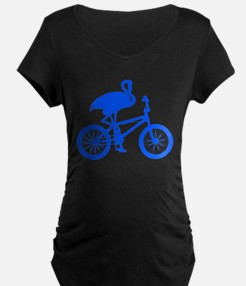 Blue Flamingo on Bicycle T-Shirt
