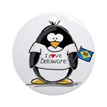 Delaware Penguin Ornament (Round)