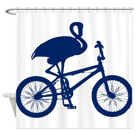 Dark Blue Flamingo on Bicycle Shower Curtain