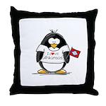 Arkansas Penguin Throw Pillow