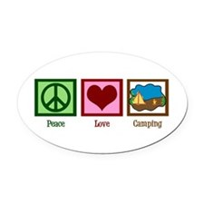 Peace Love Camping Oval Car Magnet