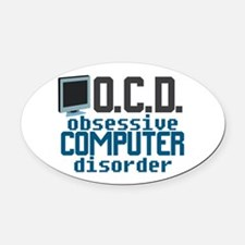 Funny Computer Oval Car Magnet