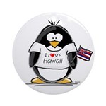 Hawaii Penguin Ornament (Round)