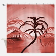 Pink Tropical Shower Curtain