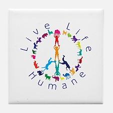 Live Life Humane Logo Tile Coaster