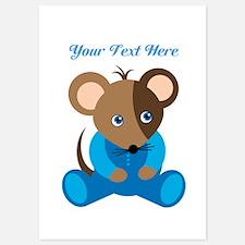 Baby Boy Mouse Blue Sleeper Invitations