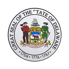 Delaware State Seal Ornament (Round)