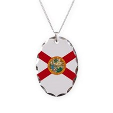 Florida State Flag Necklace Oval Charm