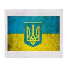 Vintage Ukraine Flag Throw Blanket