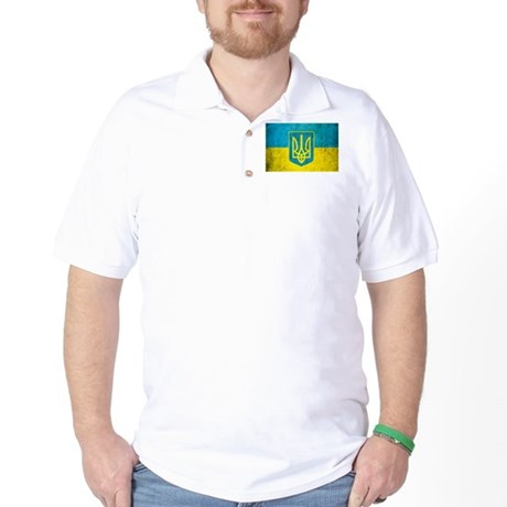 Vintage Ukraine Flag Golf Shirt
