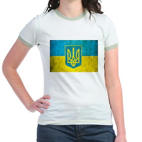 Vintage Ukraine Flag Jr. Ringer T-Shirt
