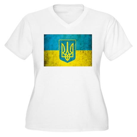 Vintage Ukraine Flag Women's Plus Size V-Neck T-Sh