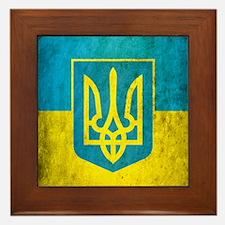 Vintage Ukraine Flag Framed Tile