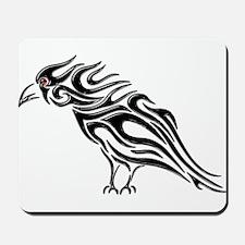 Glossy Black Raven Tattoo Mousepad