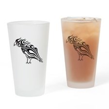 Glossy Black Raven Tattoo Drinking Glass