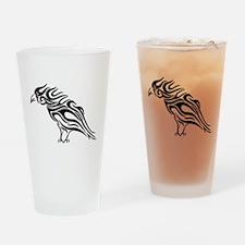 Glossy Black Raven Tattoo Drinking Glass