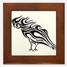 Glossy Black Raven Tattoo Framed Tile