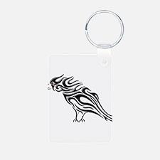 Glossy Black Raven Tattoo Aluminum Photo Keychain